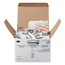 "Command™ Medium Wire Hooks, 2-3/16""H x 7/8""W x 13/16""D, White, Pack Of 35 Hooks"