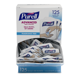 Purell® Singles Advanced Hand Sanitizer Individual Single-Use Packets, 1.2 mL, 125 Packets Per Box, Case Of 12 Boxes