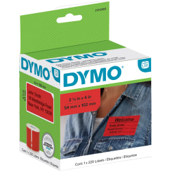 """Dymo® Label Writer Multi-Purpose Labels, 2-1/8"""" x 4"""", Red, 220 Labels Per Roll"""