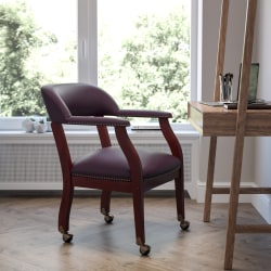 Flash Furniture Luxurious Conference Chair With Casters, Burgundy/Brown