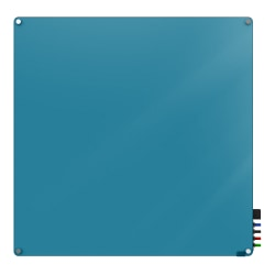 """Ghent Harmony Magnetic Glass Dry-Erase Board, 48"""" x 48"""", Blue"""