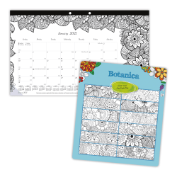 """Blueline® DoodlePlan™ Coloring Monthly Desk Pad Calendar, 17 3/4"""" x 10 7/8"""", 50% Recycled, FSC® Certified, Multicolor, January to December 2021"""