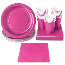 Pink Party Supplies - 24-Set Paper Tableware - Disposable Dinnerware Set For 24 Guests, Including Paper Plates, Napkins And Cups, Neon Pink