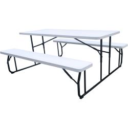 "Iceberg Folding Picnic Table - 72"" x 12"" x 17.5"" Bench - Material: Plastic Surface, Steel Frame - Finish: Powder Coated Black Frame"