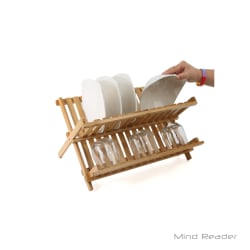 """Mind Reader Bamboo Dish Drying Rack, 13.5""""H x 17.75""""W x 13.63""""D, Brown"""