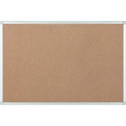"""Bi silque Ayda Cork Bulletin Board, 48"""" x 36"""", Aluminum Frame With Silver Finish"""
