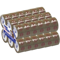 "Tape Logic® Stop If Seal Is Broken Preprinted Carton-Sealing Tape, 3"" Core, 2"" x 55 Yd., Red/Tan, Case Of 36"