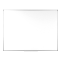 "Bi-silque Ayda Porcelain Magnetic Dry-Erase Board, 24"" x 36"", White, Aluminum Frame"