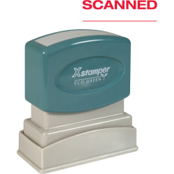 "Xstamper SCANNED Pre-inked Stamp - Message Stamp - ""SCANNED"" - 0.50"" Impression Width x 1.62"" Impression Length - 100000 Impression(s) - Red - Plastic Handle - Recycled - 1 Each"