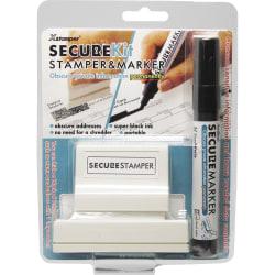 """Xstamper Secure Privacy Stamp Kit - 1"""" Impression Width x 2.65"""" Impression Length - Black - 1 / Pack"""
