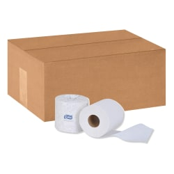 Tork Advanced Toilet Paper, 2-Ply, White, 500 Sheets Per Roll, Carton Of 80 Rolls