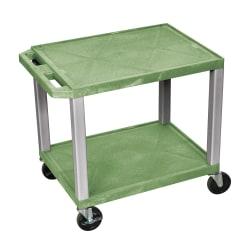 "H. Wilson Tuffy 2-Shelf Plastic Utility Cart, 26""H x 24""W x 18""D, Green/Nickel"