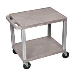 "H. Wilson 26"" Plastic Utility Cart, 26""H x 24""W x 18""D, Gray/Nickel"