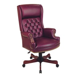 Office Star™ Traditional High-Back Chair With Built-In Headrest, Oxblood Burgundy/Mahogany
