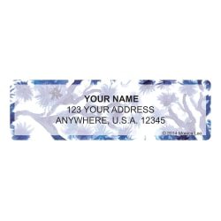 "Custom Address Labels, 2-1/2"" x 3/4"", Blue China, Pack Of 144 Labels"