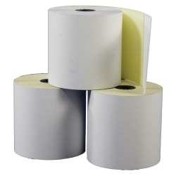 "Office Depot® Brand Banking/Teller Window/ATM Rolls, 3"" x 90', 2-Ply, Self-Contained, Canary/White, Pack Of 50 Rolls"