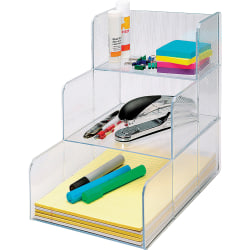 "Sparco® 3-Compartment Desktop Storage Organizer, 12""H x 12""W x 9 7/16""D, Clear"