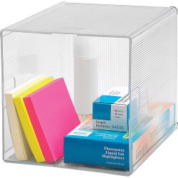 "Business Source Clear Cube Storage Cube Organizer - 6"" Height x 6"" Width x 6"" Depth - Desktop - Clear - 1Each"