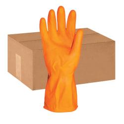 ProGuard Deluxe Flock Lined Latex Gloves, Medium, Orange, Pack Of 12