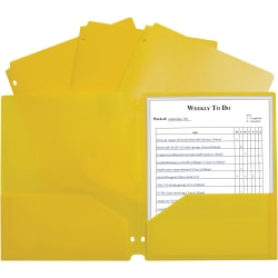 "C-Line 2-pocket Heavyweight Poly Portfolio Pocket - 11.4"" Length - 100 mil Thickness - For Letter 8 1/2"" x 11"" Sheet - 3 x Holes - Ring Binder - Rectangular - Yellow - Polypropylene - 25 / Box"