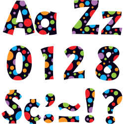 """Trend Ready Letter Neon Dots - 83, 20, 36, 59, 18 (Lowercase Letters, Numbers, Punctuation Marks, Uppercase Letters, Spanish Accent Mark) Shape - Pin-up - 4"""" Height x 8"""" Length - Assorted - 1 / Pack"""