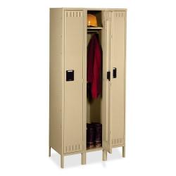 """Tennsco Single-Tier 3-Wide Locker With Legs, 78""""H x 36""""W x 18""""D, Sand"""