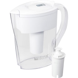 Brita Space Saver Water Filter Pitcher - Pitcher - 40 gal / 2 Month - 6 Cups Pitcher Capacity - 76 / Bundle - White