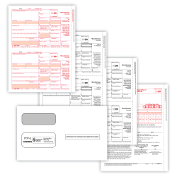 """ComplyRight 1099-MISC Tax Forms, 3-Part, 2-Up, Copies A/B/C, Laser, 8-1/2"""" x 11"""", Pack Of 50 Forms And Envelopes"""