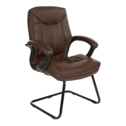 Office Star™ Work Smart Faux Leather Executive Visitor Chair, Chocolate