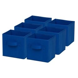"""Honey-Can-Do Mini Non-Woven Foldable Cubes, 7""""H x 5 3/4""""W x 7""""D, Navy, Pack Of 6"""
