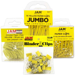 JAM Paper® 4-Piece Office Clip Fastener Set, Yellow