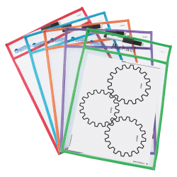 """Learning Resources® Write-And-Wipe Dry-Erase Pockets, 9 1/2"""" x 12"""", Assorted Colors, Set Of 5"""