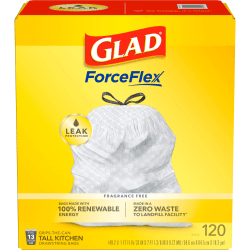 Glad Tall Kitchen Drawstring Trash Bags - 13 gal - 9 mil (229 Micron) Thickness - White - Plastic - 16200/Pallet - 120 Per Box - Home, Day Care, Breakroom, Kitchen