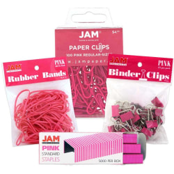 JAM Paper® 4-Piece Desk Supply Kit, Pink