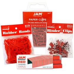 JAM Paper® 4-Piece Desk Supply Kit, Red