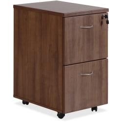 "Lorell® Essentials 22""D Vertical 2-Drawer Mobile Pedestal File Cabinet, Walnut"