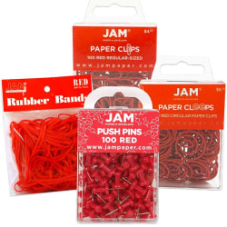 JAM Paper® 4-Piece Office Set, Red