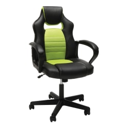 Essentials By OFM Racing-Style Mid-Back Gaming Chair, Green/Black