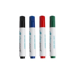 IdeaPaint Dry-Erase Markers, Bullet Point, White Barrel, Assorted Ink Colors, Pack Of 4 Markers