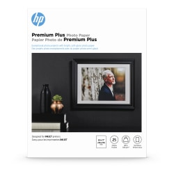"""HP Premium Plus Photo Paper for Inkjet Printers, Soft Gloss, Letter Size (8 1/2"""" x 11""""), 80 Lb., Pack Of 25 Sheets (CR671A)"""