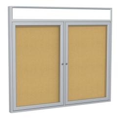 "Ghent Headliner Cork Bulletin Board, 2 Doors, 36"" x 48"", Satin Aluminum Frame"