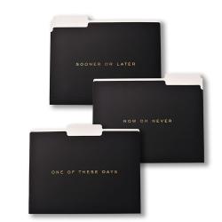 """Gartner™ Studios Soft-Touch Now Or Never File Folders, 8-1/2"""" x 11"""", Letter Size, Black/Gold, Pack Of 6 Folders"""