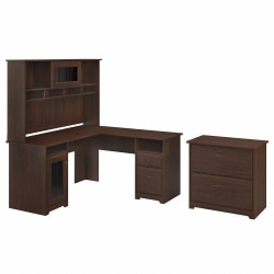 """Bush Furniture Cabot 60""""W L-Shaped Computer Desk With Hutch And Lateral File Cabinet, Modern Walnut, Standard Delivery"""