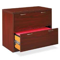 """HON® Valido™ 36""""W Lateral 2-Drawer File Cabinet, Mahogany"""