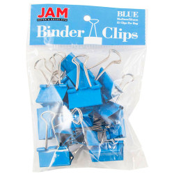 "JAM Paper® Designer Binder Clips, Medium, 3/4"" Capacity, Blue, Bag Of 15 Clips"