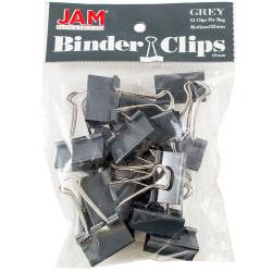 "JAM Paper® Designer Binder Clips, Medium, 3/4"" Capacity, Gray, Bag Of 15 Clips"