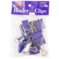 "JAM Paper® Designer Binder Clips, Medium, 3/4"" Capacity, Purple, Bag Of 15 Clips"