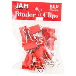 "JAM Paper® Designer Binder Clips, Medium, 3/4"" Capacity, Red, Bag Of 15 Clips"