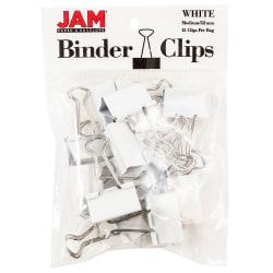 "JAM Paper® Designer Binder Clips, Medium, 3/4"" Capacity, White, Bag Of 15 Clips"