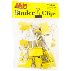 "JAM Paper® Designer Binder Clips, Medium, 3/4"" Capacity, Yellow, Bag Of 15 Clips"